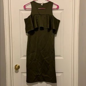 Olive Green Ruffle Off Shoulder Dress